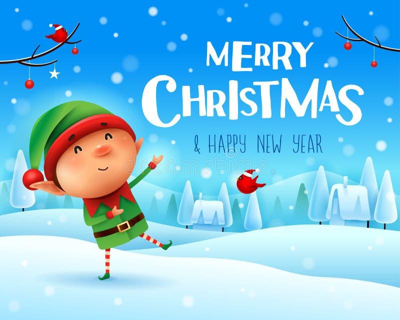 圣诞快乐!一点矮子在圣诞节雪场面冬天风景招呼 库存例证