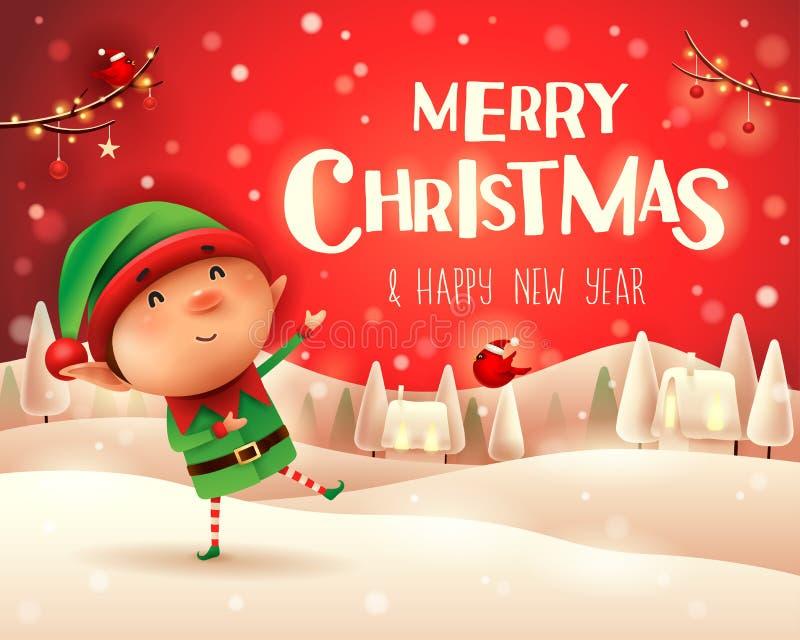 圣诞快乐!一点矮子在圣诞节雪场面winte招呼 库存例证