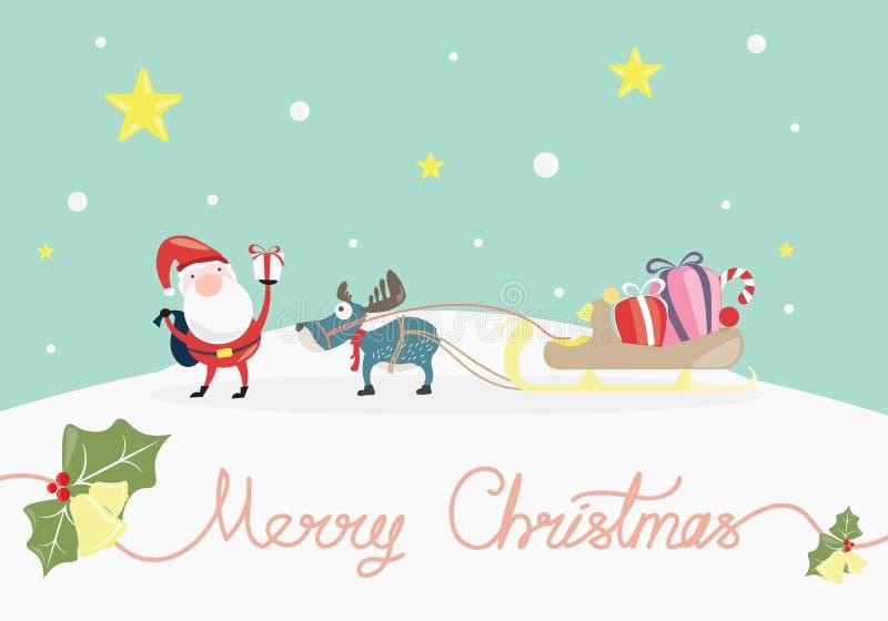 圣诞快乐,与圣诞老人项目的Xmas假日给一个礼物 免版税库存图片