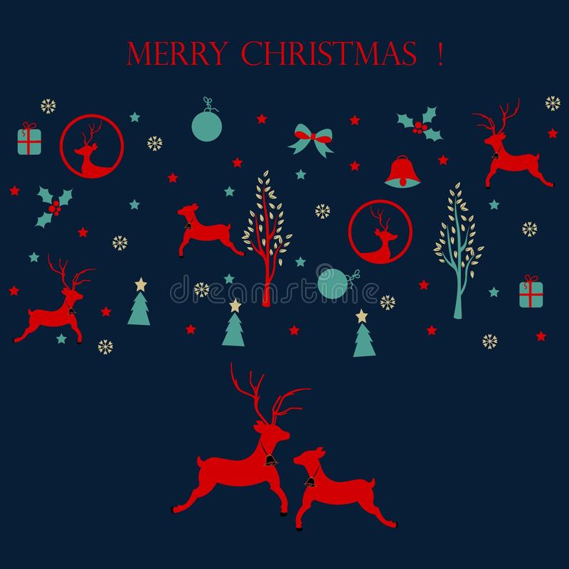 圣诞快乐,与圣诞节象的圣诞卡 库存例证