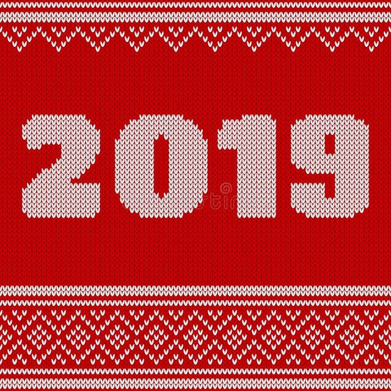 圣诞快乐,与第的新年无缝的被编织的样式2019年 编织的毛线衣设计 羊毛被编织的纹理 向量例证