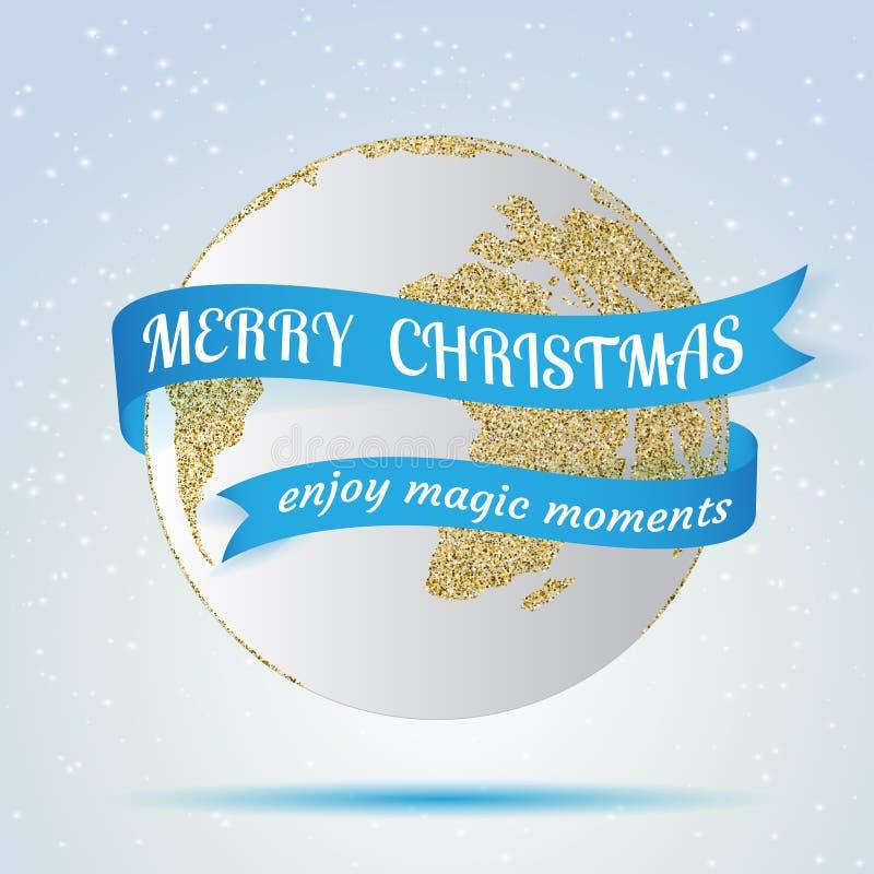圣诞快乐,与红色丝带在它附近,在冬天背景的hollyday装饰的地球象 贺卡,小册子 库存例证