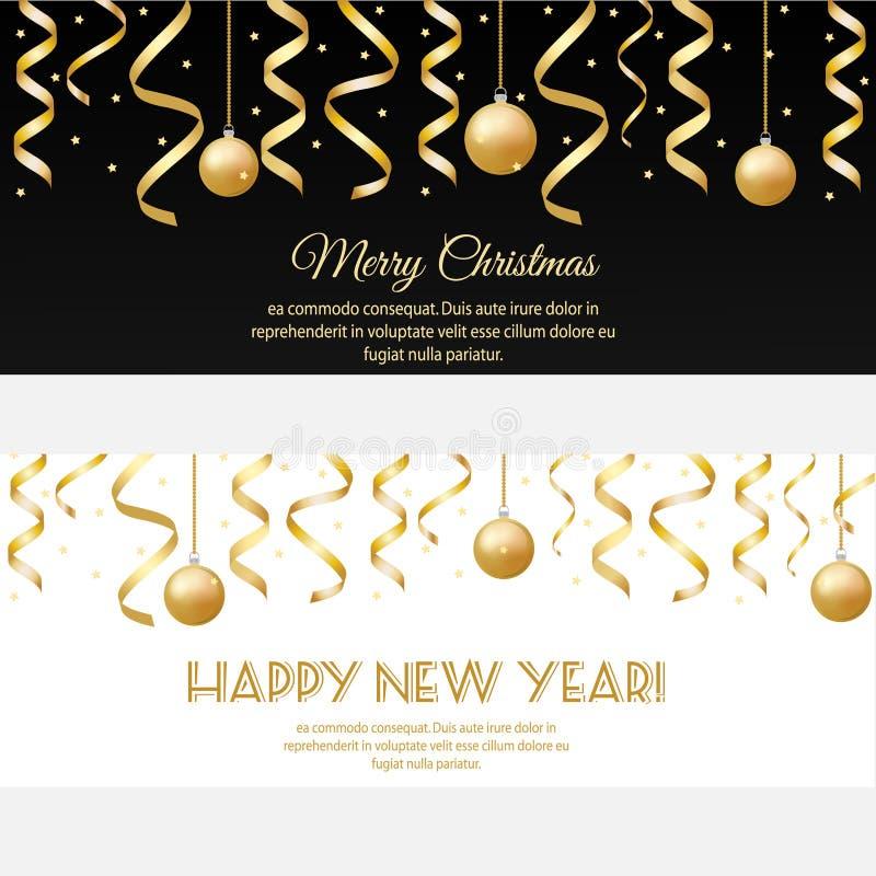 圣诞快乐,与金黄飘带和中看不中用的物品的新年好水平的横幅 库存例证