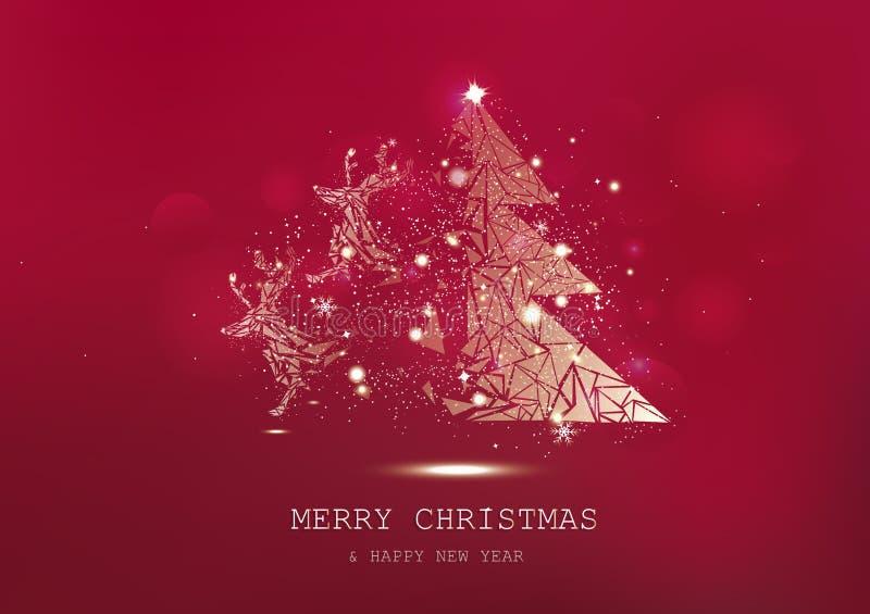 圣诞快乐,与驯鹿幻想奇迹的树多角形,五彩纸屑星闪耀,金黄发光的微粒驱散,海报, 皇族释放例证