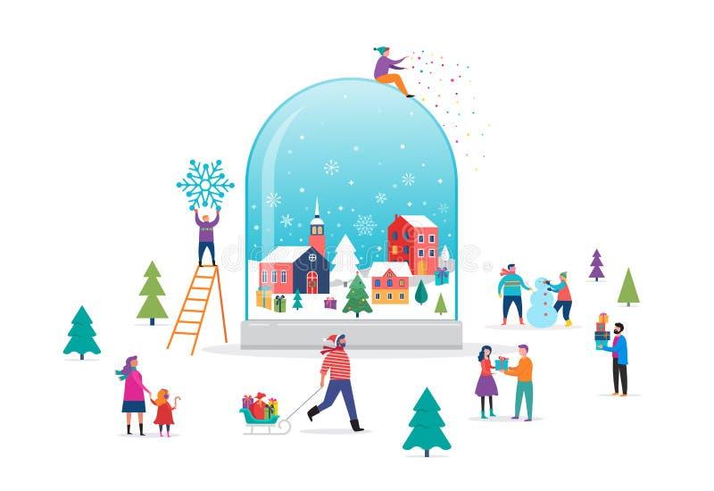 圣诞快乐,冬天在雪地球的妙境场面与小人民,年轻人和妇女,获得的家庭乐趣 皇族释放例证