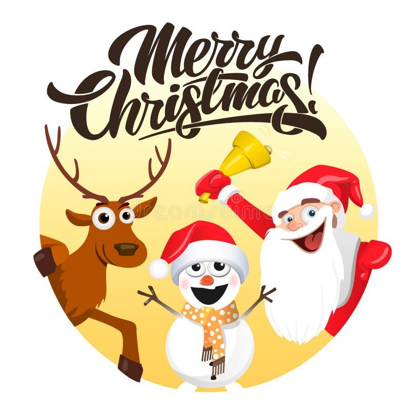 圣诞快乐,圣诞老人鹿和雪人 皇族释放例证