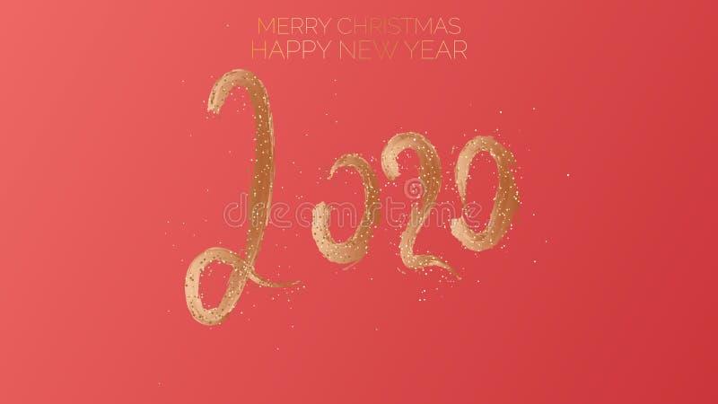 圣诞快乐,新年快乐2020年 文本金黄与在红色中国颜色背景的明亮的闪闪发光 向量例证