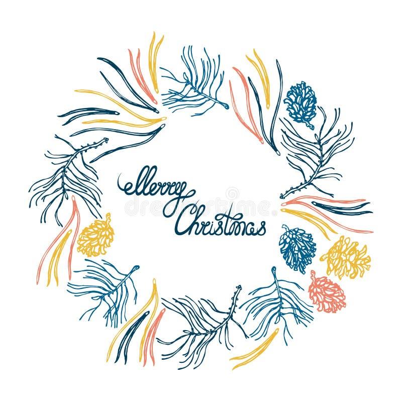 圣诞快乐!与自然元素的圆的花圈 分支,杉木锥体,杉木针 设计火笔记本模板写您 拉长的现有量 向量例证