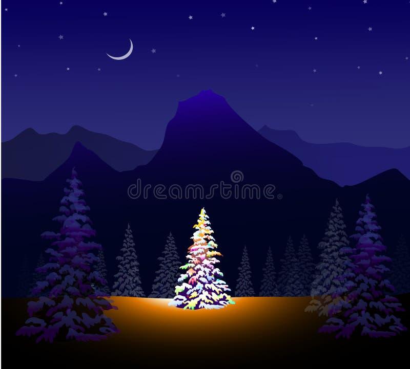 圣诞快乐&冬天风景 向量例证