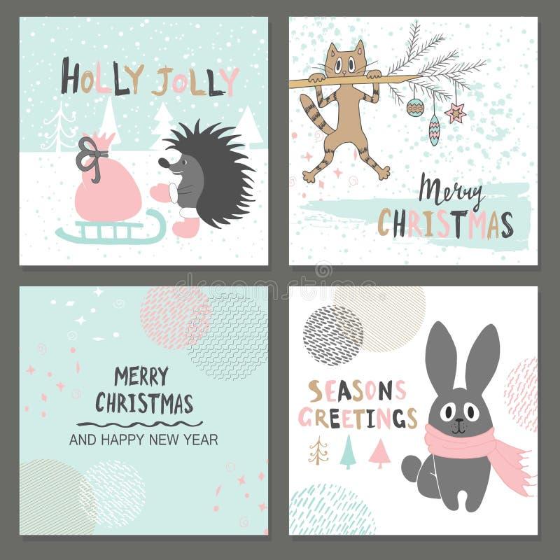 圣诞快乐贺卡设置了与逗人喜爱的猬、猫、兔子和其他元素 皇族释放例证