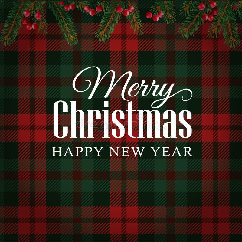 圣诞快乐贺卡,与圣诞树的邀请分支和红色莓果边界 格子呢方格的背景 皇族释放例证