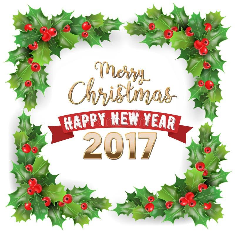 圣诞快乐2017年和新年快乐霍莉莓果寒假贺卡 皇族释放例证