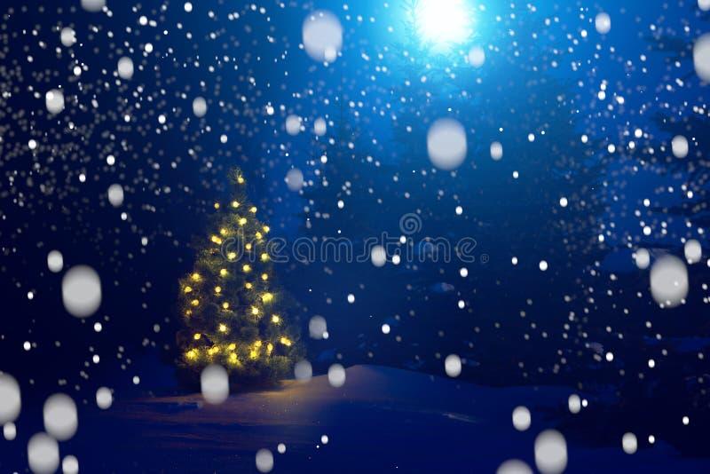 圣诞快乐!在降雪之外的圣诞树在月光 背景美好的圣诞节 童话 库存图片