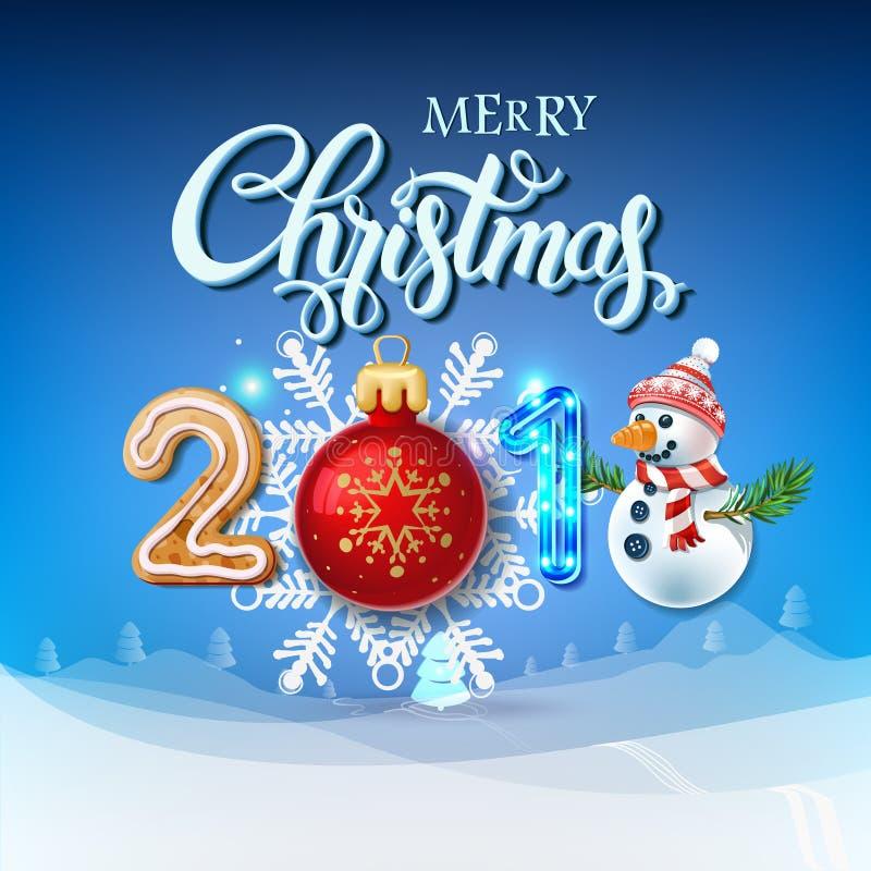 圣诞快乐2018年装饰海报卡片 皇族释放例证