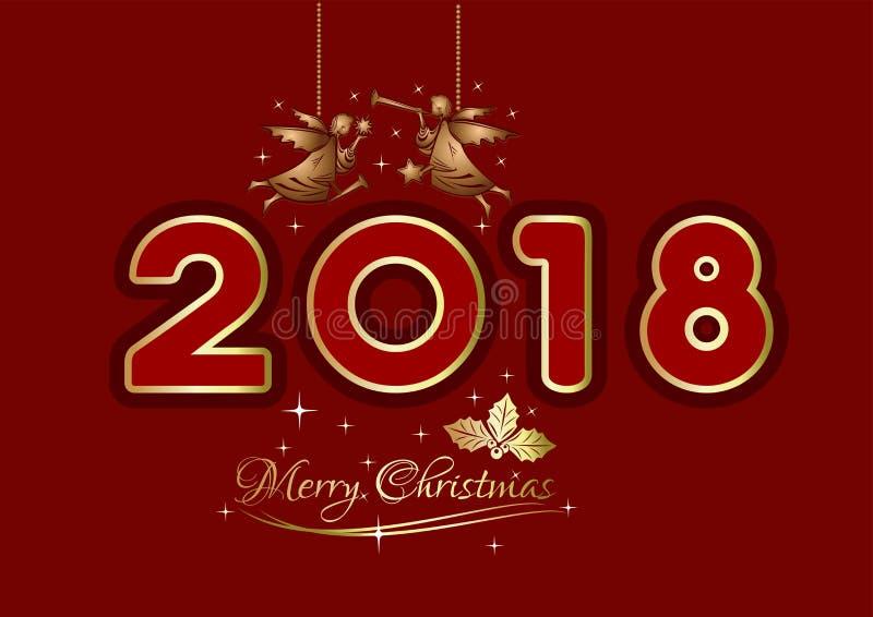 圣诞快乐2018年 向量例证
