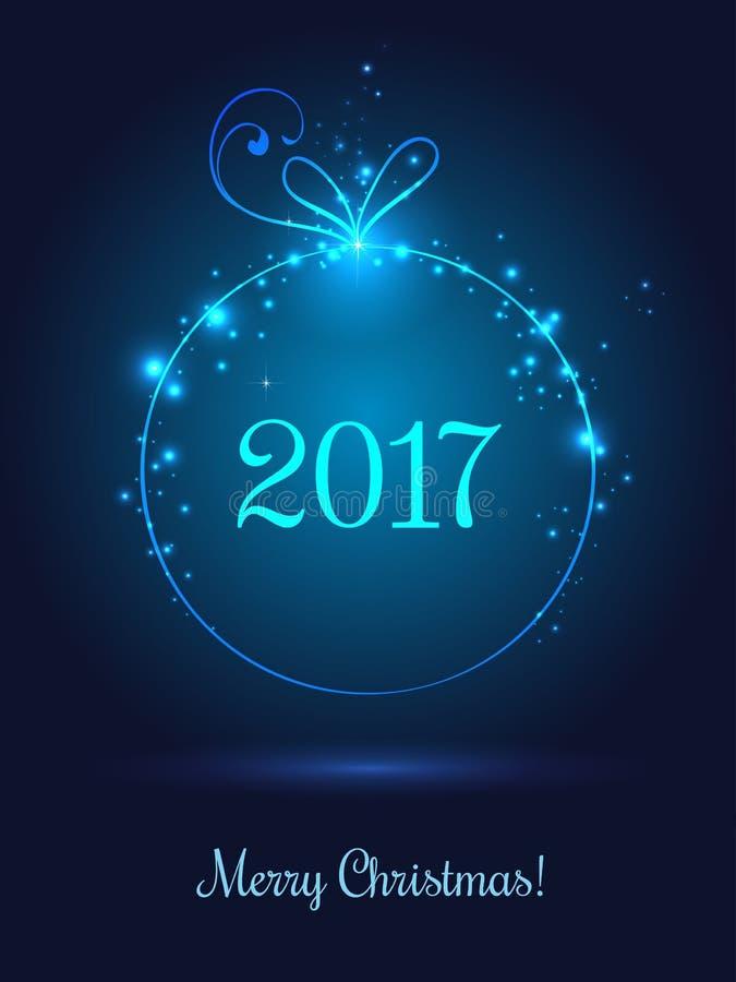 圣诞快乐2017年庆祝的发光的Xmas球在与光,星,雪花的深蓝背景 向量例证