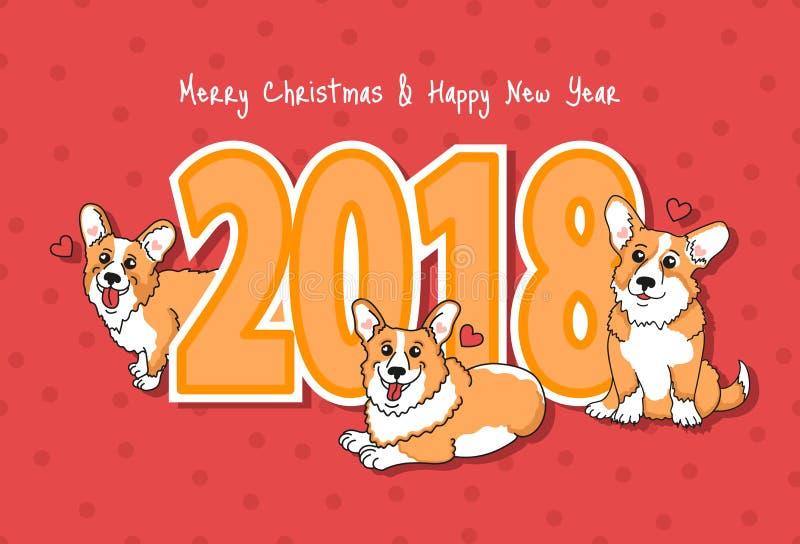 圣诞快乐&新年快乐 与快乐的狗的假日例证 向量例证
