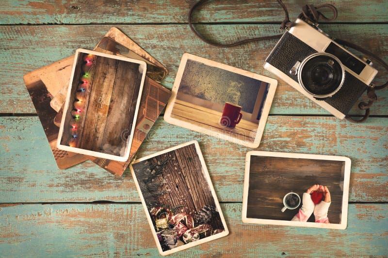 圣诞快乐xmas在老木桌上的象册 免版税库存图片