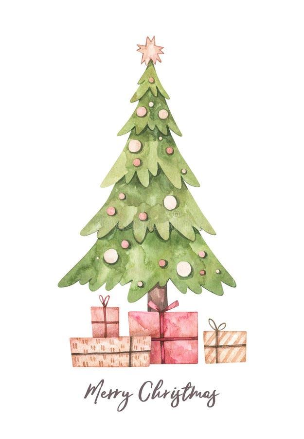 圣诞插图,带圣诞树和礼品盒 — 水彩插图 新年快乐 冬季设计要素 性能 皇族释放例证