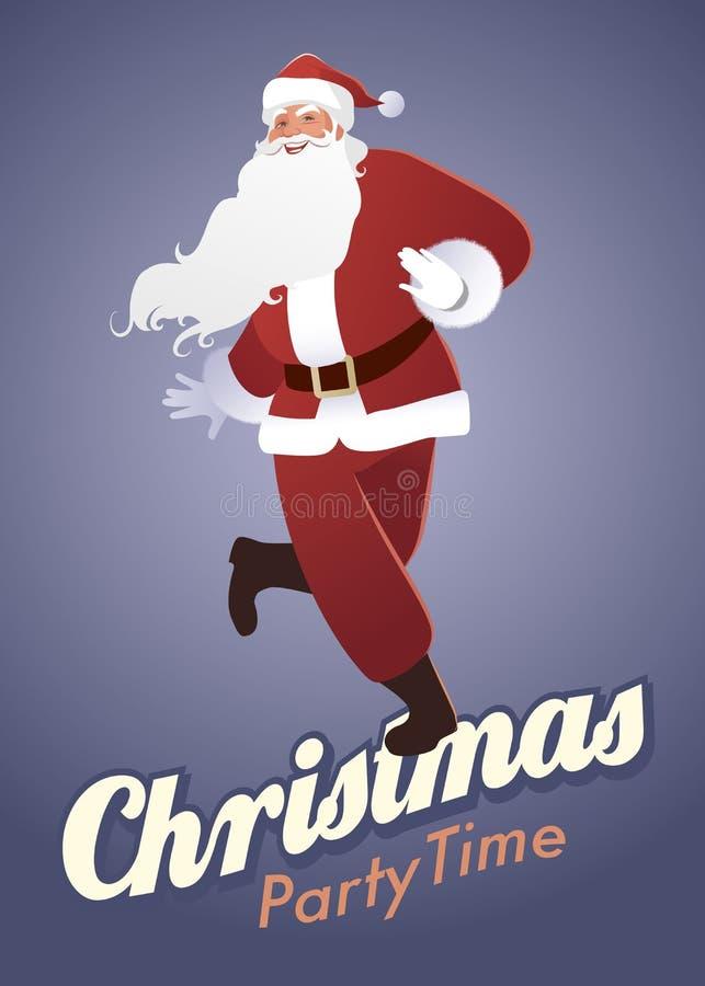 圣诞晚会时间:滑稽的圣诞老人跳舞 皇族释放例证