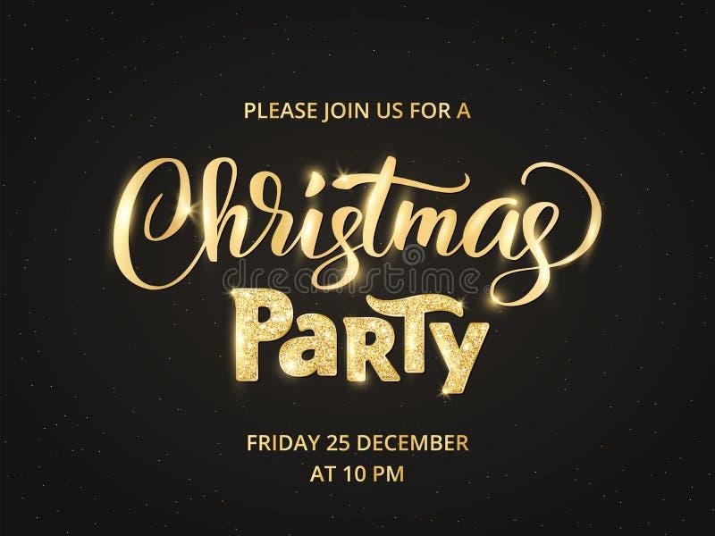 圣诞晚会海报模板,传染媒介例证 手书面字法 闪耀的闪烁金黄印刷术 向量例证