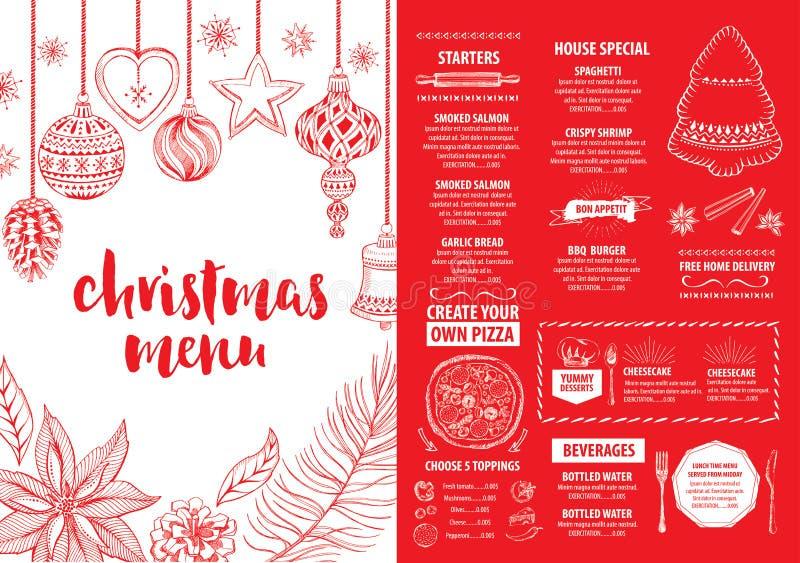 圣诞晚会邀请餐馆 食物飞行物 库存例证