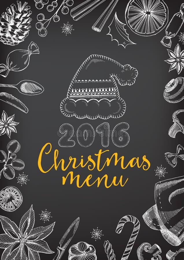 圣诞晚会邀请餐馆 食物飞行物 向量例证