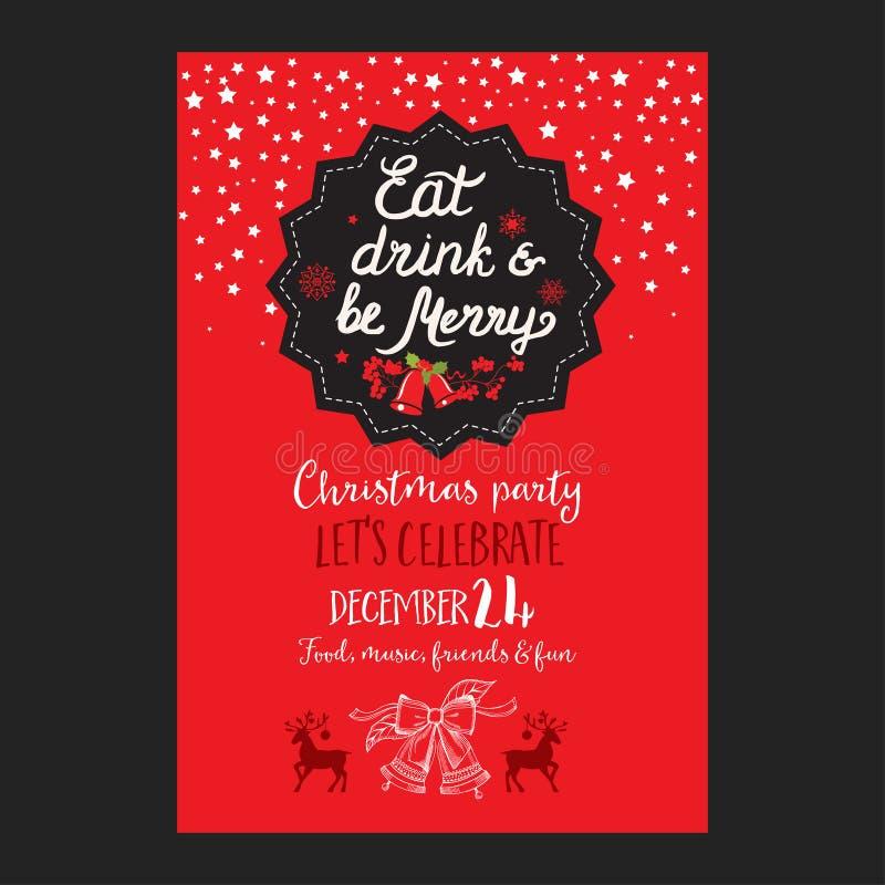 圣诞晚会邀请,食物菜单餐馆 皇族释放例证