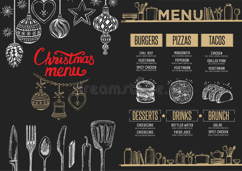 圣诞晚会邀请,食物菜单餐馆 库存例证