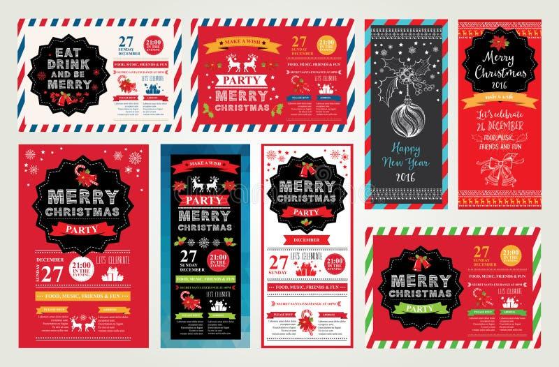 圣诞晚会邀请 另外的卡片形式节假日 库存例证
