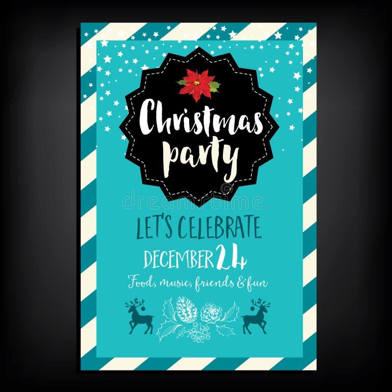 圣诞晚会邀请 另外的卡片形式节假日 向量例证