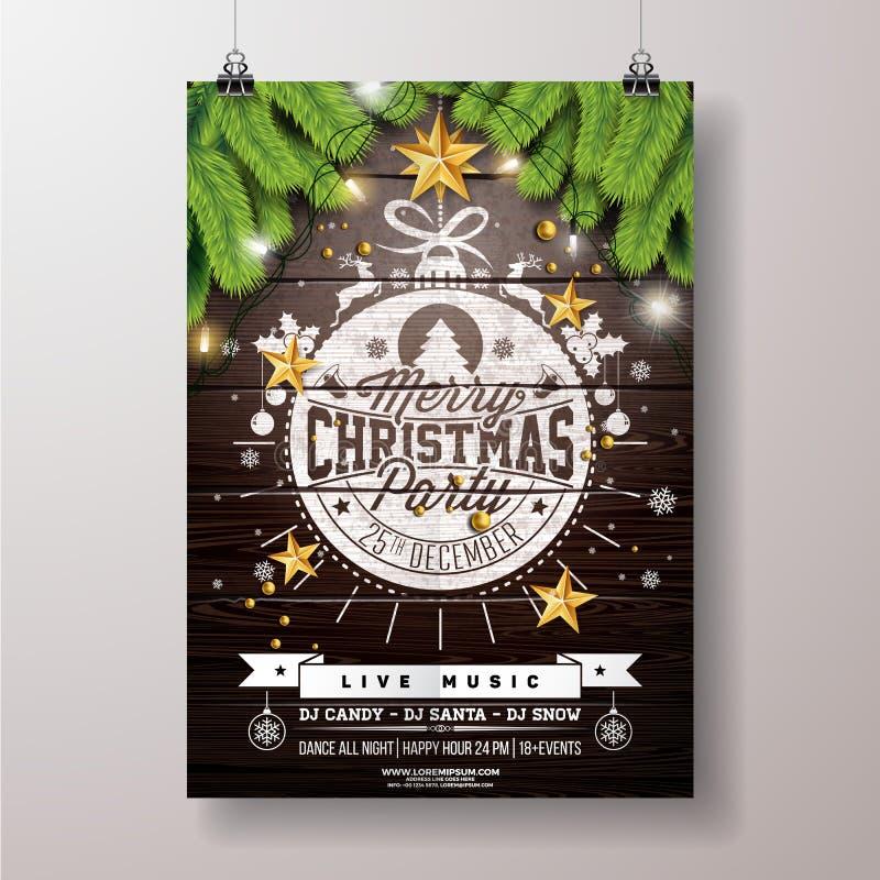 圣诞晚会飞行物例证有金星和印刷术字法onVintage木头背景 传染媒介庆祝 皇族释放例证