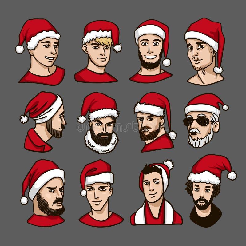 圣诞晚会 庆祝新年度 人红色圣诞老人的帽子葡萄酒手拉的绅士集合的 人` s 皇族释放例证