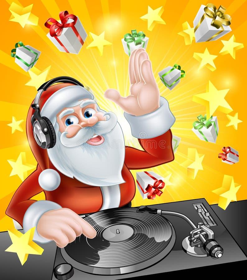 圣诞晚会DJ圣诞老人 向量例证
