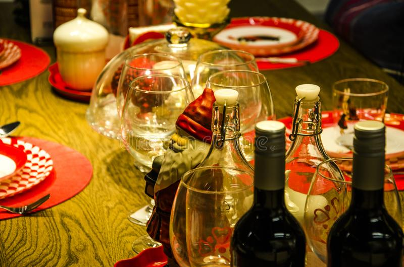 圣诞晚餐桌 库存图片