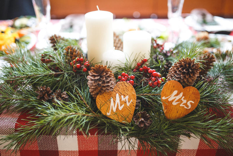 圣诞晚餐表 免版税图库摄影