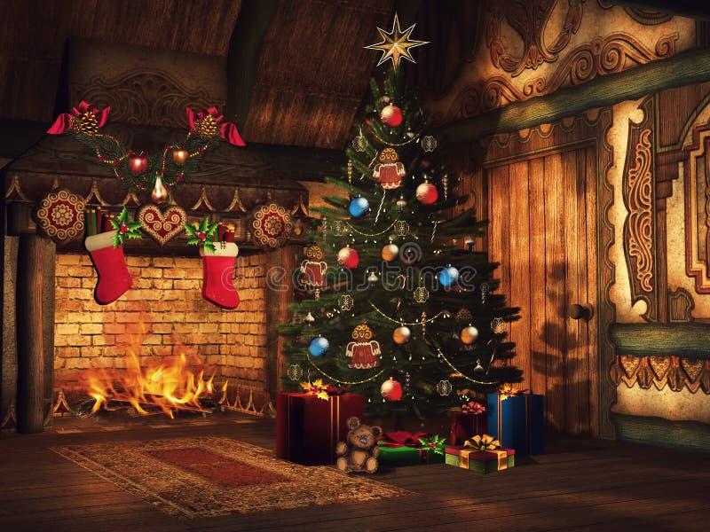 圣诞树、礼物和壁炉 向量例证