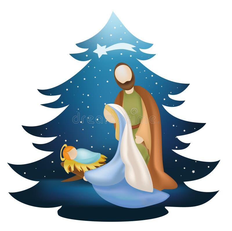圣诞树与圣洁家庭的诞生场面在蓝色背景 免版税库存照片