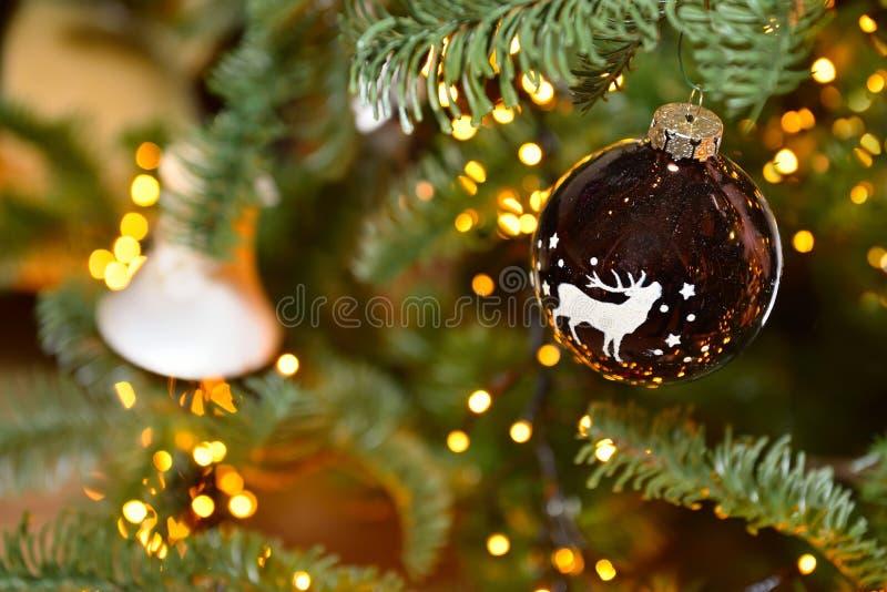 圣诞树与鹿、星和杉木锥体,羽毛的装饰球 云杉分支bokeh光 背景 库存图片