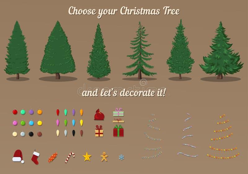 圣诞树传染媒介建设者  装饰模板 向量例证