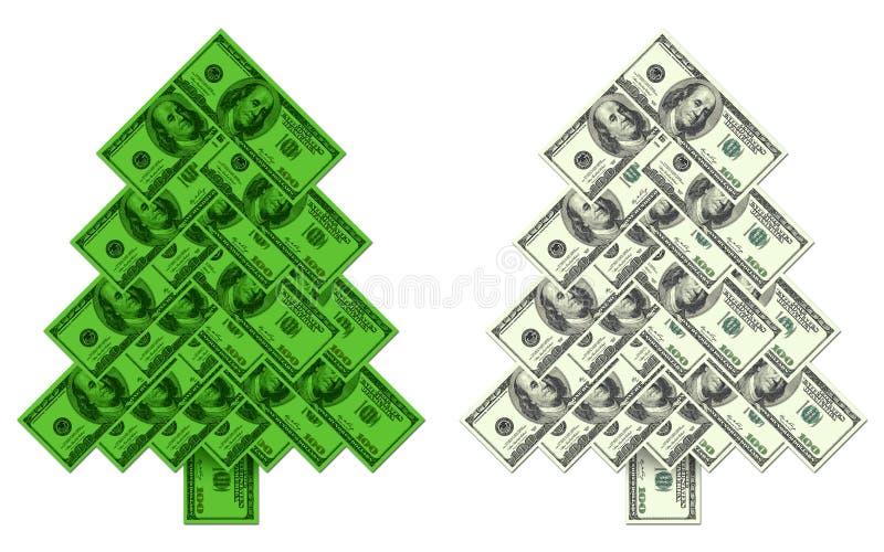 圣诞树做了†‹â€ ‹一百美元钞票 向量例证