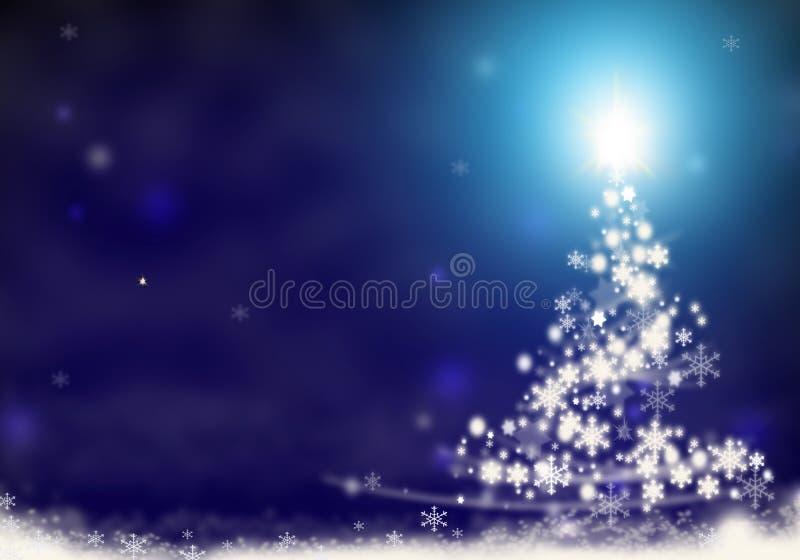 圣诞树光从星背景蓝色雪圣诞节背景例证形成了 皇族释放例证