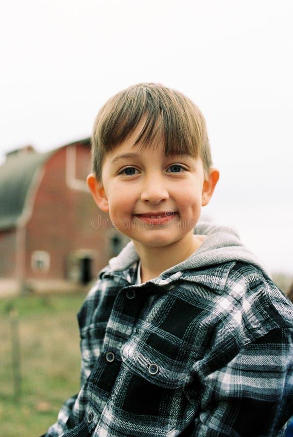 圣诞树农厂影片扫描与俄勒冈孩子 免版税库存图片