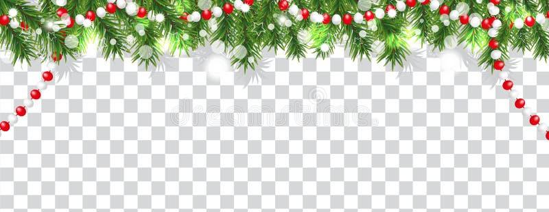圣诞树分支和小珠圣诞节和新年快乐边界在透明背景 E 向量 皇族释放例证