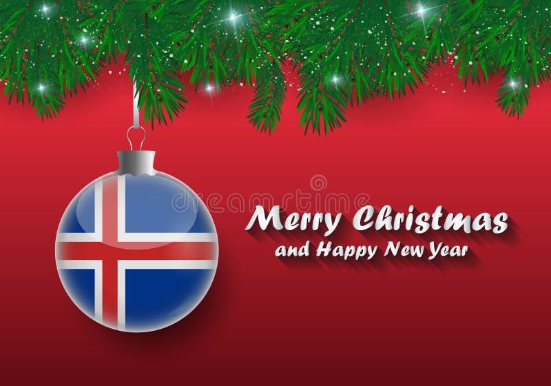 圣诞树分支和球传染媒介边界与冰岛f 库存例证