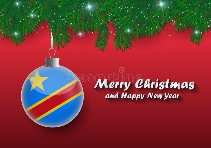圣诞树分支和球传染媒介边界与democrati 皇族释放例证
