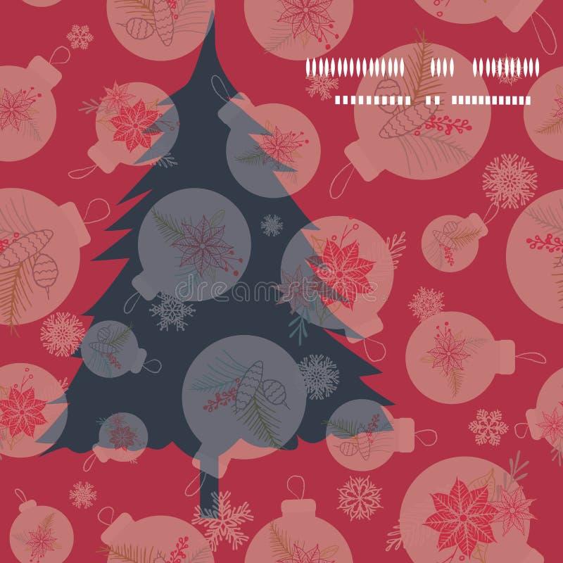 圣诞树剪影与装饰品和雪花的贺卡设计 现代创造性的节日传染媒介例证 库存例证