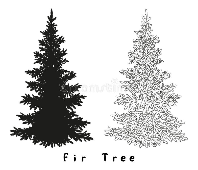 圣诞树剪影,等高和 皇族释放例证