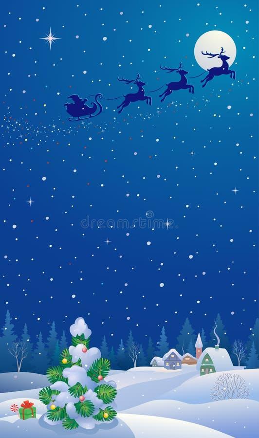 圣诞树和圣诞老人雪橇垂直的横幅 向量例证