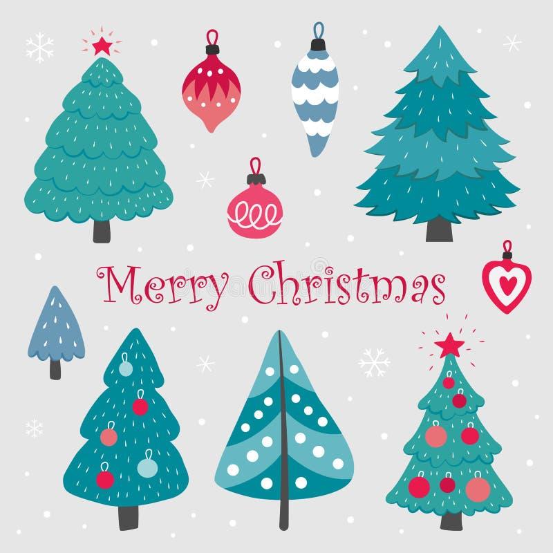 圣诞树和圣诞节装饰的元素 库存例证